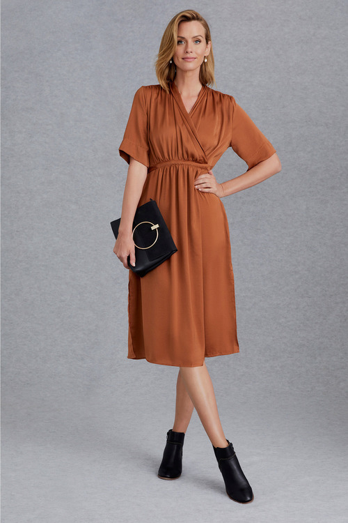 Grace Hill Satin Wrap Midi Dress