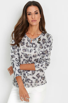Euro Edit Animal Print Cardi - 247190