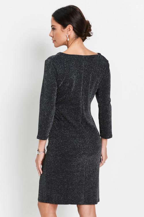 Euro Edit Cowl Neck Shimmer Dress