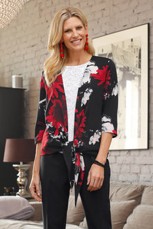 Euro Edit Printed Tie Blouse - 247194