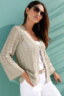 Euro Edit Pointelle Cardigan