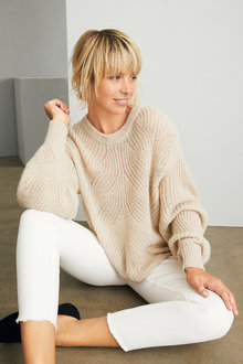 Emerge Fluffy Cable Knit Sweater - 247227
