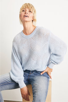 Emerge Fluffy Cable Knit Sweater