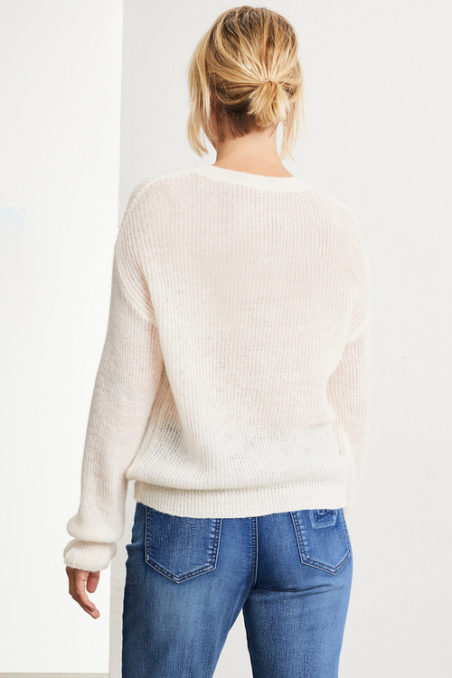 Emerge Fluffy Ruffle Sleeve Sweater