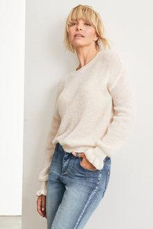 Emerge Fluffy Ruffle Sleeve Sweater - 247243
