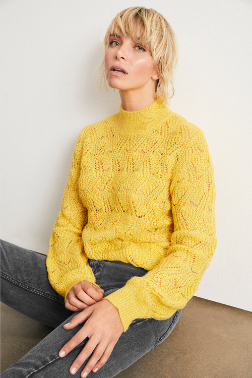 Emerge Fluffy Pointelle Sweater