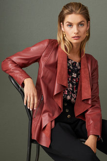 Capture Leather Longline Jacket - 247323