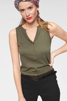 Urban Sleeveless Top with Buttons - 247333