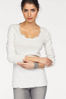 Urban Long Sleeve Lace Trim Top - 247336
