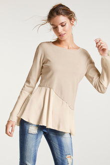 Heine Silk Peplum Sweater