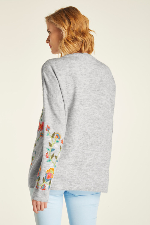 Heine Floral Embroidery Sweater