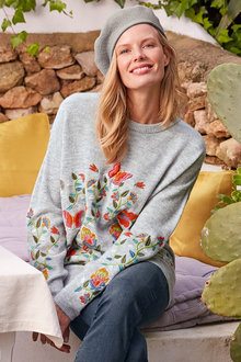Heine Floral Embroidery Sweater - 247444