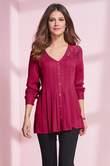 European Collection Lace Yoke Crinkle Blouse