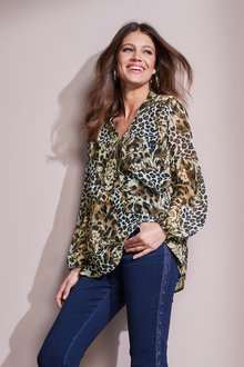 European Collection Animal Print Blouse - 247452