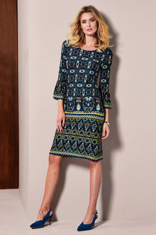 Kaleidoscope Printed Ruffle Sleeve Dress