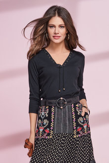 European Collection Lace Up Detail Top