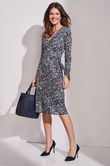 European Collection Animal Print Wrap Dress - 247466