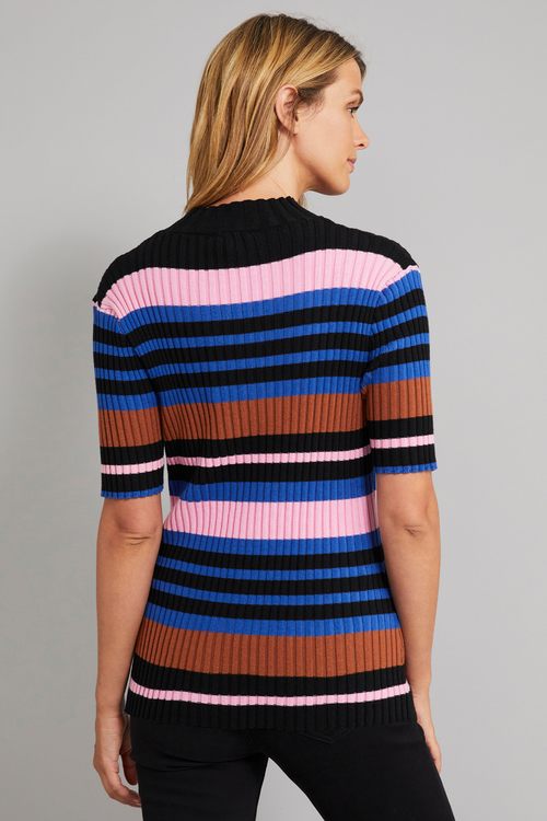 Capture High Neck Striped Rib Top