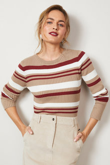 Capture Crew Neck Rib Stripe Top - 247535