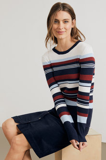 Capture Crew Neck Rib Stripe Top