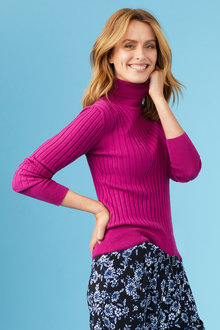 Capture Ribbed Roll Neck Top - 247537