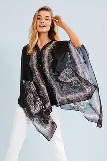 Capture Scarf Print Kimono - 247542