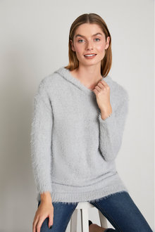 Capture Feather Knit Hoodie - 247544