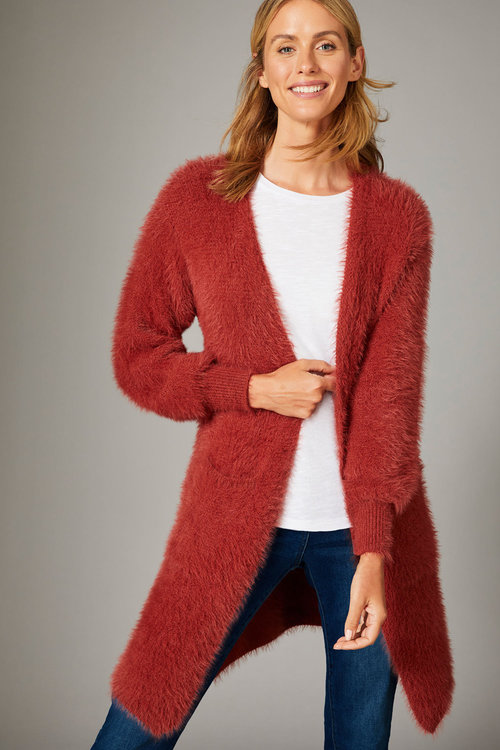 Capture Feather Knit Longline Cardigan