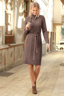 Euro Edit Aran Pattern Knit Dress