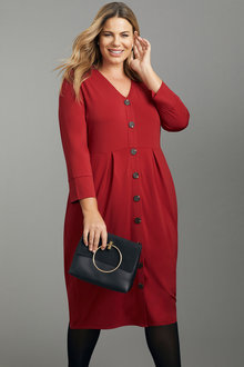 Sara Knit Button Through Dress - 247678