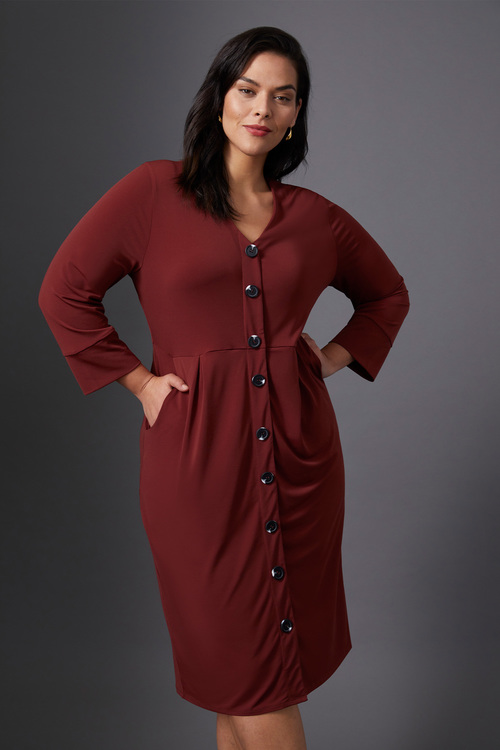 Sara Knit Button Through Dress
