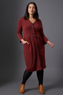 Sara Knit Button Through Dress - 247678