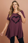 Plus Size - Sara Flocked Print Tee