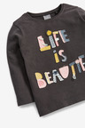 Next Charcoal Appliqué Slogan T-Shirt