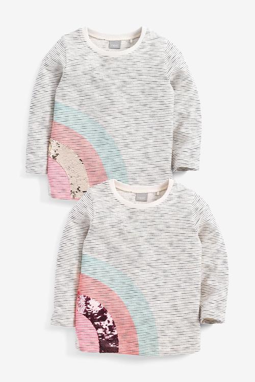 Next Stripe Sequin Rainbow T-Shirt (9mths-7yrs)