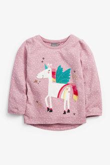 Next Lilac Unicorn Appliqué T-Shirt (3mths-7yrs) - 247712
