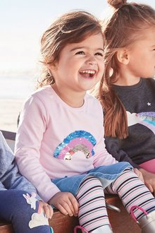 Next Sequin Rainbow Long Sleeve T-Shirt (9mths-7yrs) - 247732