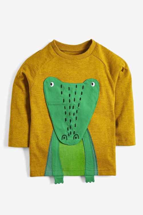 Next Yellow Long Sleeve Interactive Crocodile T-Shirt (3mths-7yrs)
