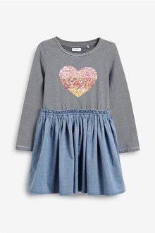 Next Blue Sequin Dress - 247807