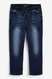 Next Dark Blue Regular Fit Jersey Denim Pull-On Jeans - 247809
