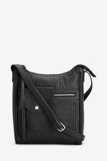 Next Black Pocket Messenger Across-Body Bag - 247867