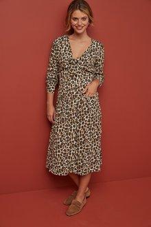 Next Animal Print Long Sleeve Tie Detail Dress - 247868