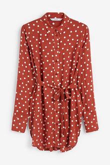 Next Tan Spot Longline Shirt - 247869