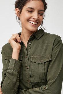 Next Khaki Tencel® Shirt - 247925