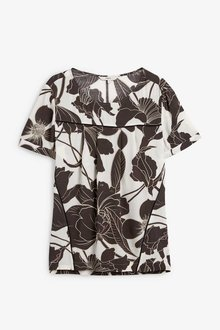 Next Monochrome Floral Woven Boxy T-Shirt - 247931