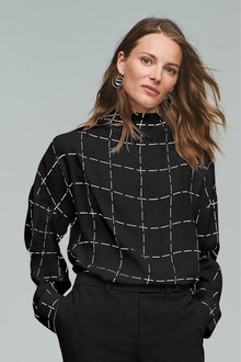 Next Black Check High Neck Top - 247964