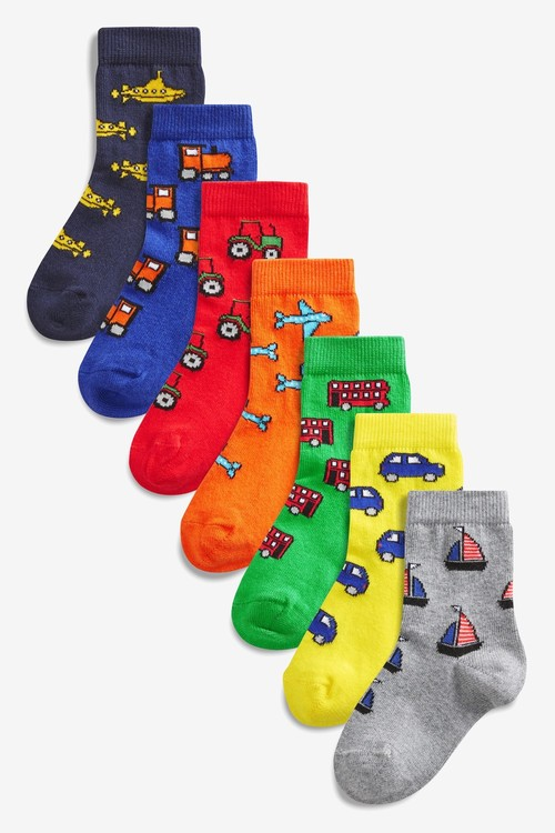 Next 7 Pack Cotton Rich Bright Dinosaur Socks (Younger)