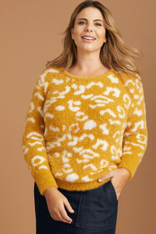 Plus Size - Sara Jacquard Eyelash Sweater