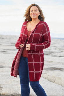 Plus Size - Sara Check Cardigan