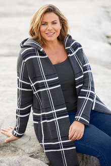 Plus Size - Sara Check Hooded Coatigan - 248018